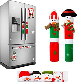Elcoho 3 Pack Adorable Christmas Snowman Kitchen Appliance Handle Covers Christmas Flash Sticker Refrigerator Handle Covers Set for Christmas Decorations (Color 1)