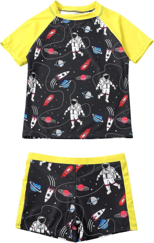 Baby Toddler Boys 3 Pieces Swimsuit Set Swimwear Dinosaur Bathing Suit Rash Guards with Hat UPF 50+