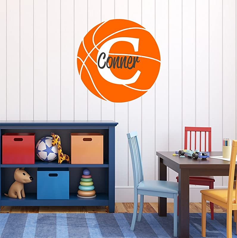 Nursery Wall Decals Basketball Name And Initial Personalized Name Wall Decal 28 By 28 Boys Or Girls Nursery Sports Decals Basketball Wall Decals Sports Wall Stickers Plus Free Hello Door Decal