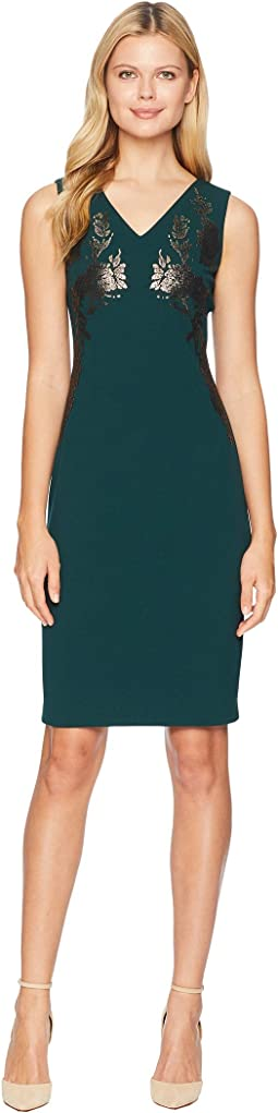 V-Neck Sheath Dress w/ Embroidery
