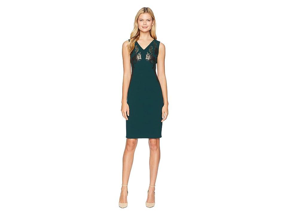 Calvin Klein V-Neck Sheath Dress w/ Embroidery (Malachite) Women
