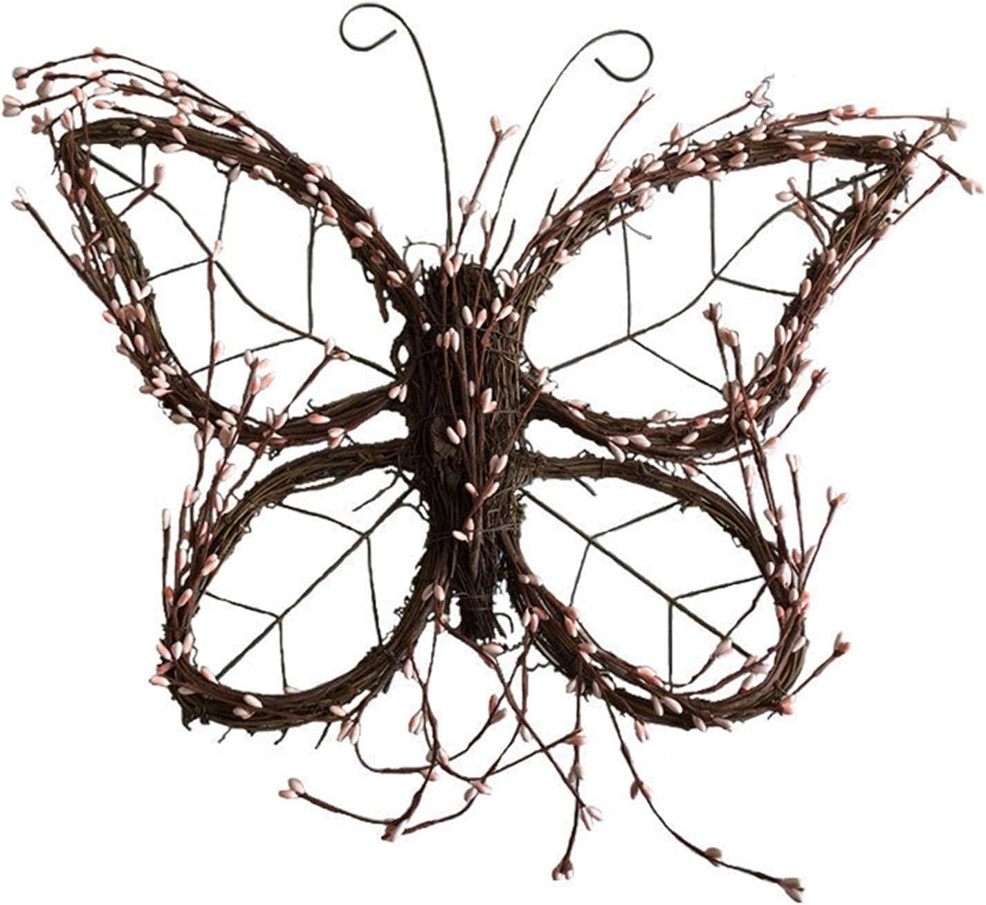 YINLAN Front Door Wreath Butterfly Garland Raleigh Mall Trim Vine Bombing new work