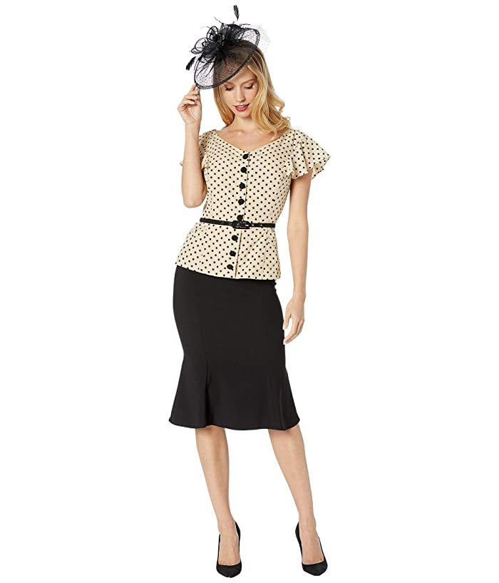 1940s Fashion Advice for Short Women Unique Vintage 1940s Style Ivy Suit Dress CreamBlack Dot Womens Clothing $59.94 AT vintagedancer.com