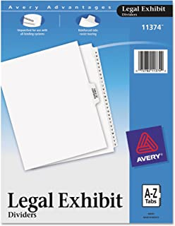 Avery-Style Premium Collated Legal Index Exhibit Dividers, A-Z and Table of Contents, Side-Tab, 8.5 x 11-Inches, 1 Set (11374), White