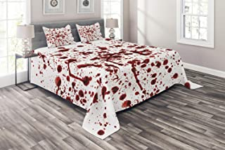 Ambesonne Horror Coverlet, Splashes of Blood Grunge Style Bloodstain Horror Scary Zombie Halloween Themed Print, 3 Piece Decorative Quilted Bedspread Set with 2 Pillow Shams, King Size, Red White