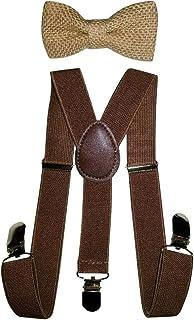 Hemp Bow ties and Brown Suspenders Set Combo Kids Children Baby (Brown)