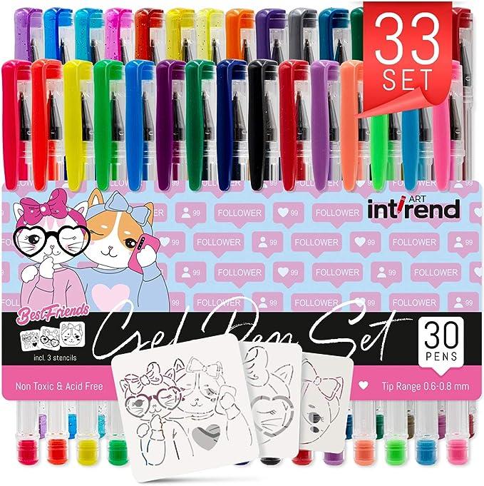 129 opinioni per int!rend- Set di 33 penne gel   30 penne inchiostro gel, 5 pastello, 7 glitter,