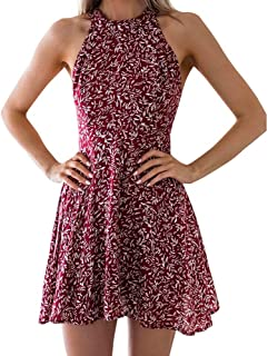 Women's Sleeveless Halter Neck A-Line Casual Party Dress Floral Print Backless Beach Skater Mini Dress
