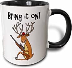 3dRose 260944_4 Cute Funny Buck Deer with Hunting Rifle Bring it on Cartoon