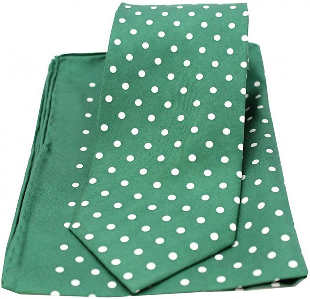 David Van Hagen Mens Polka Dot Matching Tie and Pocket Square Set - Green/White