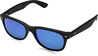 RB2132 New Wayfarer Mirrored Sunglasses, Black Rubber/Blue Flash, 55 mm