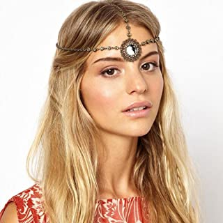 Missgrace Women Vintage Sliver Head Chain Headdress Festival Boho Head Chain Headdress Hair Accessories for Wedding and Party