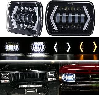 MOVOTOR 7x6 Led Headlights, 5x7 Jeep Cherokee XJ Headlight Seal Beam Led Headlight White DRL/Amber Turn Signal Arrow Halo Jeep YJ MJ Chevy S10
