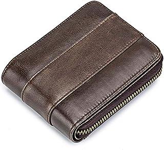 Men's leather wallet RFID shielding bi-fold, safe and stylish multi-credit card bag,Brown