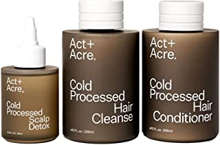 Act+Acre Cold Processed Essentials Bundle | Clean Haircare Set with Nourishing Sulfate Free Shampoo (10 Fl Oz), Conditioner (10 Fl Oz) and Scalp Oil Treatment (3 Fl Oz)
