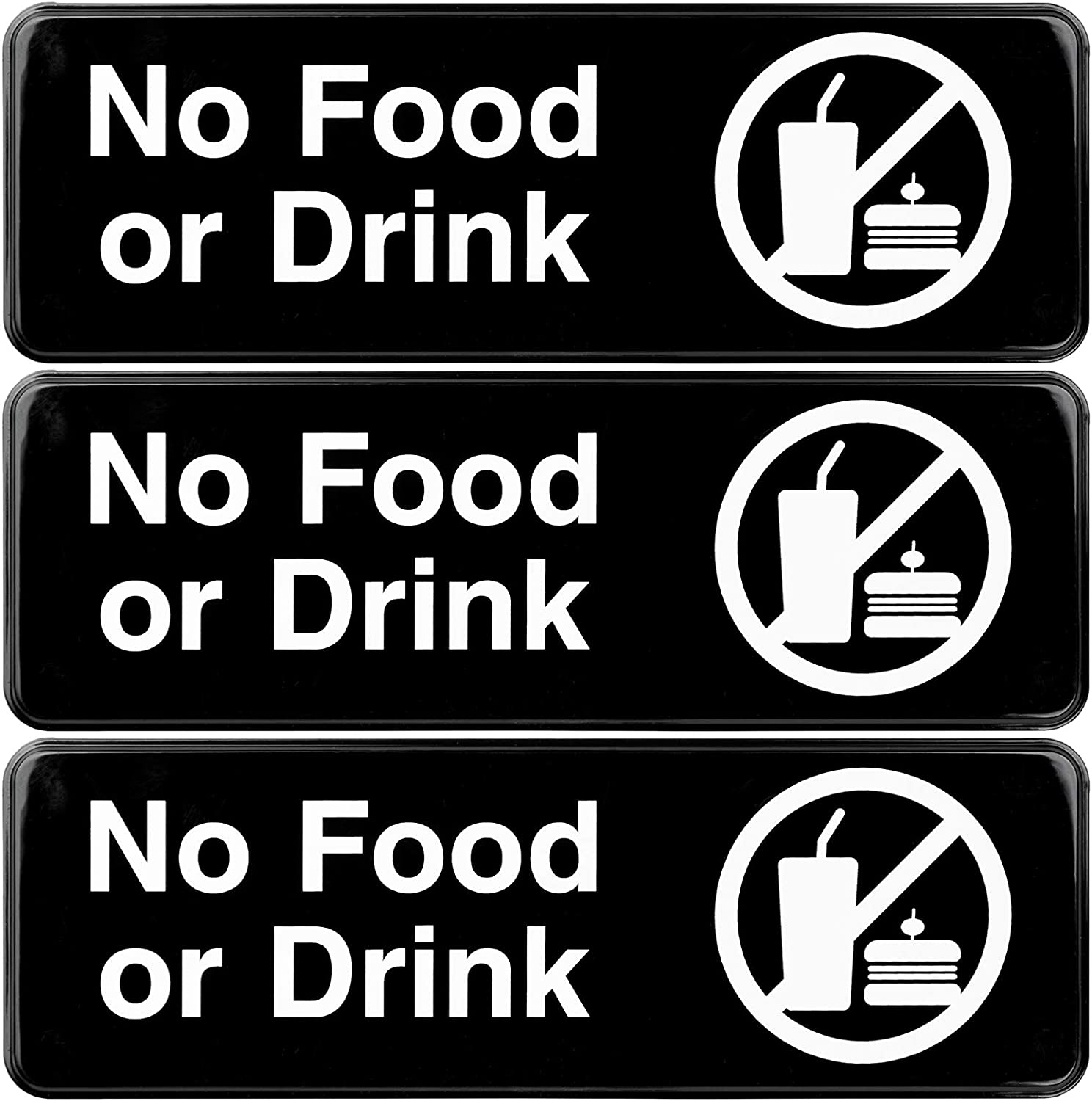 No Food or Drink Sign: Easy Mount Plastic Quantity limited 1 year warranty Sign Informative to wi