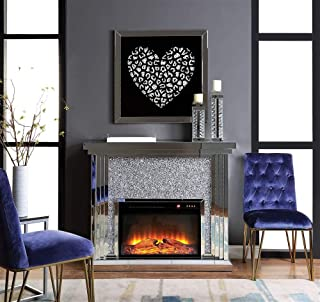 Acme Furniture Fireplace in Mirrored and Faux Finish