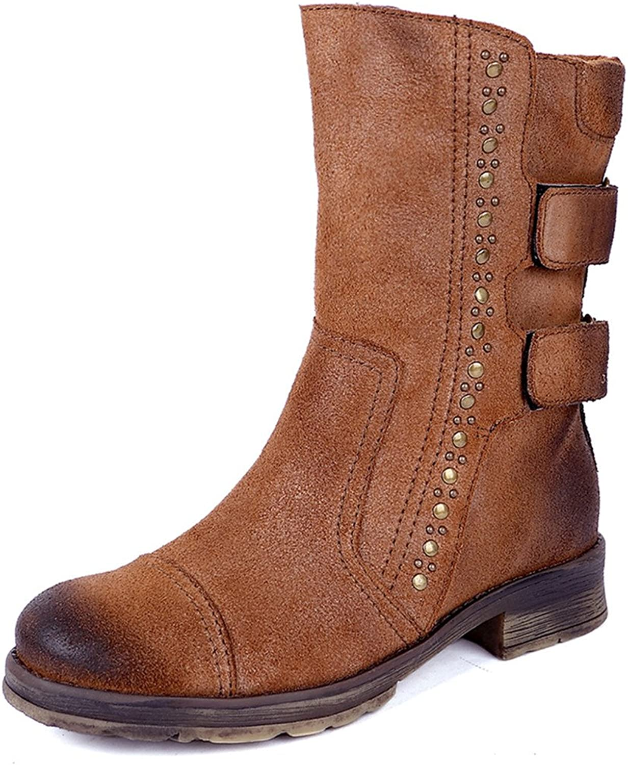 Dwarves Women's Leather Boots Retro Mid Calf Chestnut Comfortable Walking