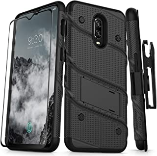 ZIZO Bolt Series OnePlus 6T Case Military Grade Drop Tested with Full Glass Screen Protector Holster and Kickstand Black Black