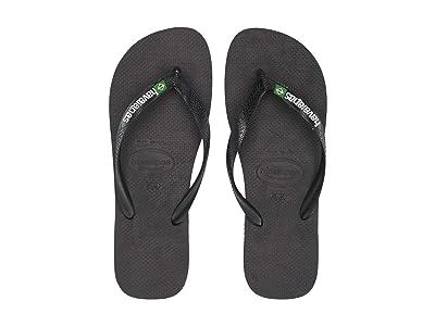 Havaianas Brazil Logo Flip Flops (Black/Black) Men