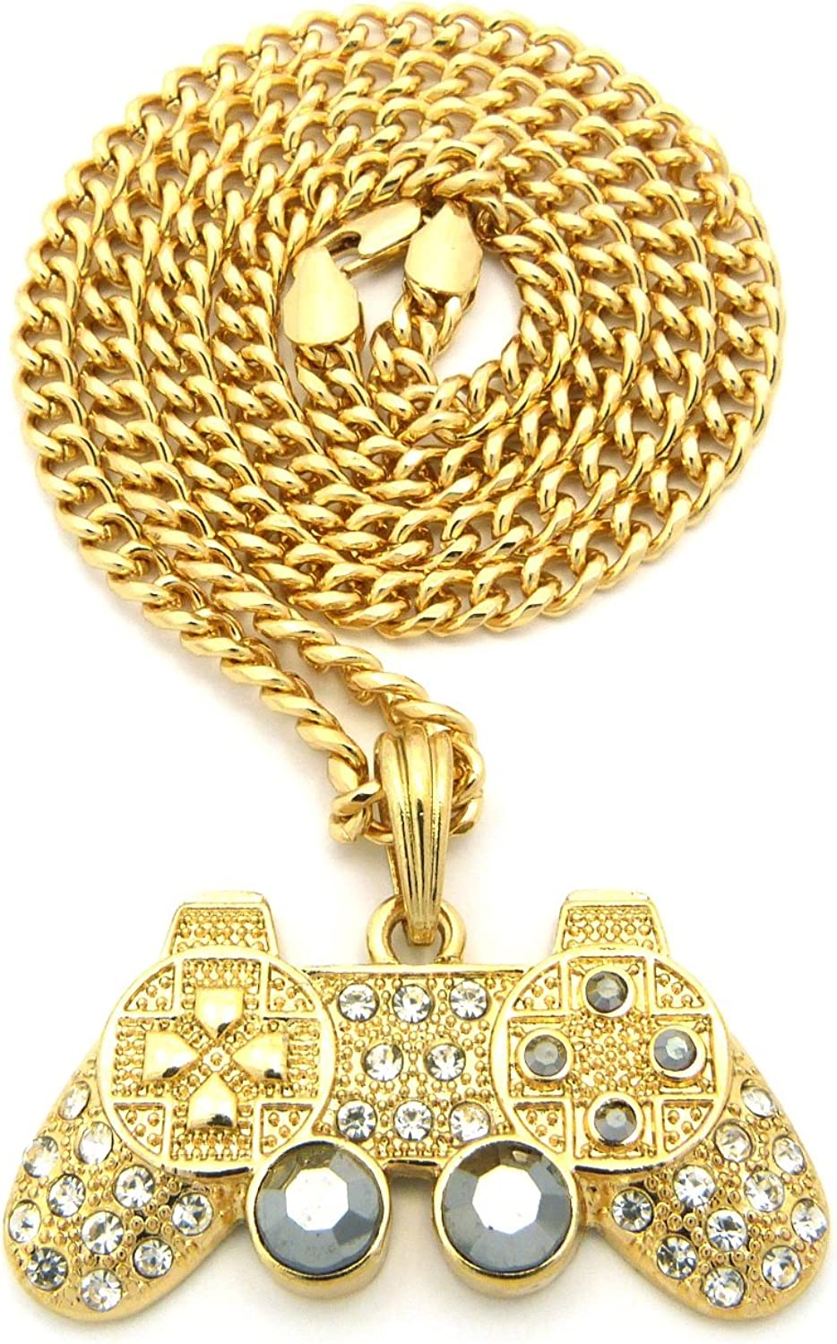 NYFASHION101 Iced Out Game Controller Micro Pendant with 5mm 24