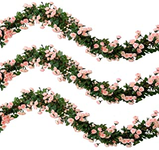 Nubry 2Pcs 138 Heads 5.7FT Artificial Silk Fake Flowers Rose Garland Plant Vine for Home Wedding Arch Party Garden Décor(Pink)