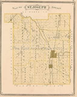 St. Joseph La Porte County Indiana Antique Map Baskin 1876 Original Indiana Decor History Gift
