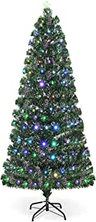 Goplus 6FT Pre-Lit Artificial Christmas Tree Optical Fiber 8 Flash Modes W/ 225 Multicolored LED Lights & Metal Stand