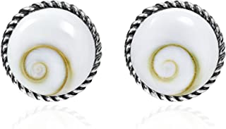 Exotic 12mm Round Stone .925 Sterling Silver Post Earrings