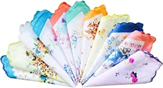 LACS Pack 15PCS Ladies Vintage Floral Handkerchiefs Wedding Party Cotton Hankies