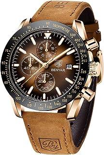 BENYAR Relojes Hombre Relojes de Pulsera Cronografo Diseñador Impermeable Reloj Hombre Banda de Cuero Analogicos Fecha de ...