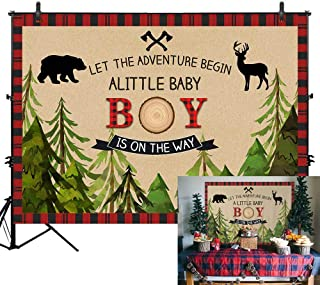 Allenjoy 7x5ft Lumberjack Backdrop a Little Baby Boy is on The Way Newborn Baby Shower Banner Wild one 1st First Birthday Adventure Photography Background Red Black Buffalo Plaid Decors Photo Props