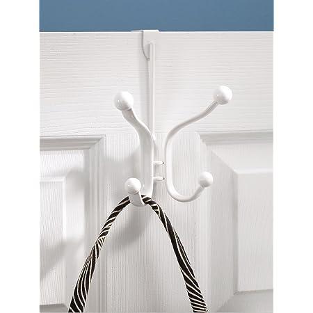 InterDesign Axis porte-manteau à suspendre avec 4 crochets, crochet compacte en métal sur porte pour vestes, chapeaux, sacoches ou serviettes, blanc