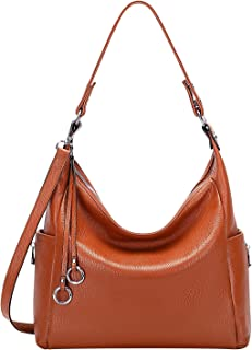 OVER EARTH Genuine Leather Purses and Handbags Shoulder Bags For Women Ladies Hobo Crossbody Purse Large(O116-2E Brown)