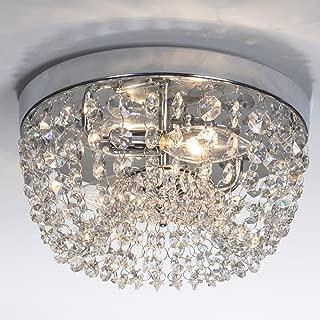 SOTTAE Elegant Mini Style 2 Lights Hallway Living Room Dining Room Kitchen Ceiling Light Fixtures Modern Crystal Chandelier, Crystal Ceiling Light(D9.8'', H5.3'')