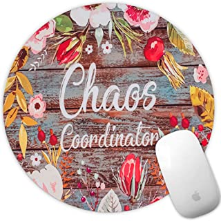 Marphe Mouse Pad Chaos Coordinator Quotes Vintage Colored Floral Mousepad Non-Slip Rubber Round Gaming Mouse Mat Circle Pads for Office Gaming Computer Laptop & Mac