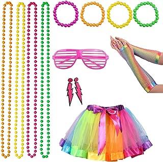 80er Jahre Kostüm für Damen Erwachsene, 1980er Jahre Neon Kostümzubehör Schmuck mit Ohrringen Armbänder Perlenketten Große Rockhandschuhe Set für coole 80er Jahre Party, bunt