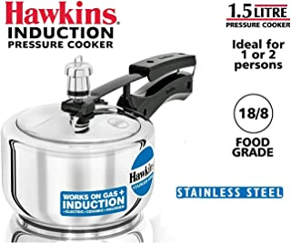 Hawkins HSS15 Stainless Steel Pressure Cooker, 1.5 Liter, Silver