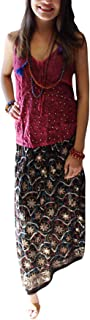 Mogul Interior Women's Black Skirt Sequin Work Embroidered A-Line Tiered Boho Long Skirts
