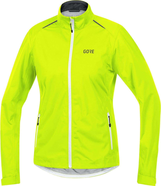 GORE Wear Women's Waterproof Cycling Jacket, GORE Wear C3 Women's GORE Wear TEX Active Jacket, Size  40, color  Neon Yellow White Black, 100041