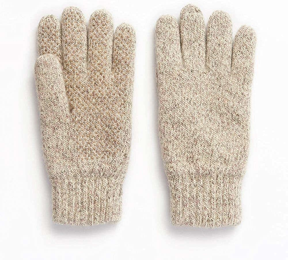 HOT SHOT Men's Ragg Wool Full Finger Gloves – Oatmeal, Insulated for Cold Outdoor Weather, One Size