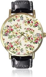 Cath Kidston Wrist Watch Unisex Fashion Black Leather Strap Stainless Steel Round Gold Dial Plate Wristwatch