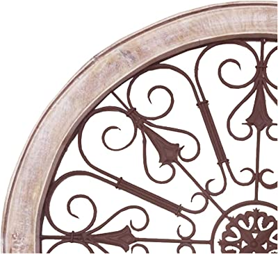 Benjara Round Intricate Metal Scrollwork Wall Decor with Wooden Frame, Cream