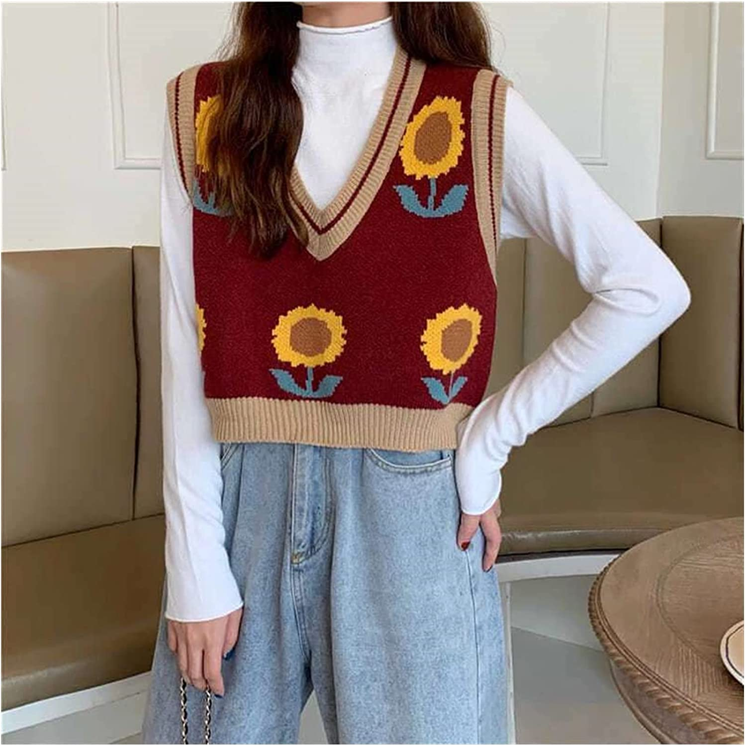 Yuncheng Women's Sunflower Print Knitted Sweater Vest V-Neck Sleeveless Crop Pullover Waistcoat Tops (Color : Red, Size : One Size)