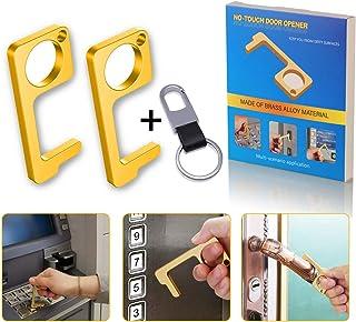 Clean Key Door Opener,No Touch Door Opener, Simple Hand Door Opener and Stylus Environmental Stylus Keychain Tool Keep Hands Clean (2, Gold)