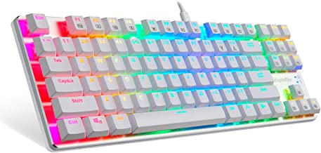 EagleTec KG061-BR Mechanical Gaming Keyboard, Compact Low Profile, 87 Key Tenkeyless with Cherry MX Brown Switches for PC Gamer (White RGB LED Backlit)