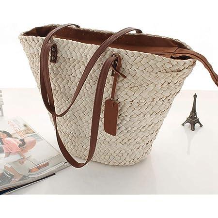 Stroh Handtasche, Sommer Strand Tasche Crossbody Tasche, Damen Schultertasche mit Ledergriffe für Reise Täglicher, Einkaufen, Alltagstasche