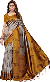 Ishin Poly Silk Grey Printed Women's Saree With Tassels