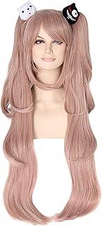 Ruina Junko Enoshima Cosplay Wig Long Pink Wigs for Danganronpa Costume + 2 Bears Cute Lolita Synthetic Wigs for Party Halloween R025PK