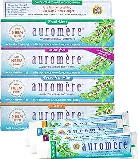 Auromere Ayurvedic Herbal Toothpaste, Variety - Vegan, Natural, Non GMO, Flouride Free, Gluten Free, with Neem & Peelu (4.16 oz), 4 Pack